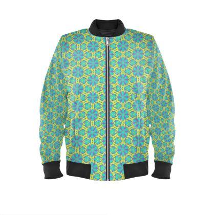 Green Mens Bomber Jacket   Geometric Florals  Hidden Gems