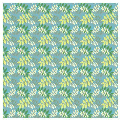 Green, Blu Curtains [228cm x 228cm single panel format]  Etched Leaves  Green Glade              nel format]  Etched Leaves   Teal Dream