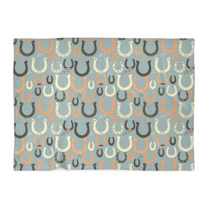 Lucky Horseshoes Blanket (Harbor Mist Grey)