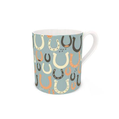Lucky Horseshoes Bone China Mug (Harbor Mist Grey)