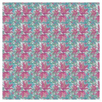 Pink, Teal Curtains  228cm x 228cm single panel. Lily Garden  Secrets