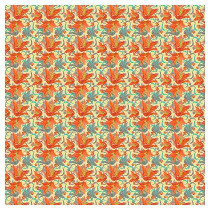 Orange, Grey Curtains 228 mm x 228 mm Single Panel Format  Lily Garden  Orangery
