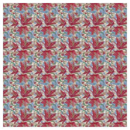 Red, Blue Curtains 228 cm x 228 cm Single Panel Format  Lily Garden  Cup of Cocoa