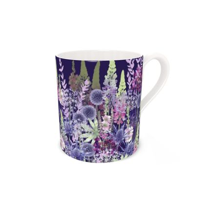 Regular Bone China Mug - Midnight Flower Dance