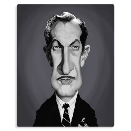 Vincent Price Celebrity Caricature Metal Print