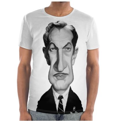 Vincent Price Celebrity  Caricature Cut and Sew T Shirt