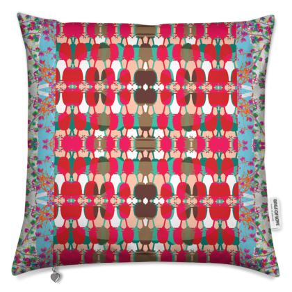 Red Geo Floral Cushion