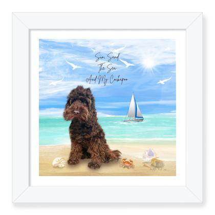 CHOCOLATE COCKAPOO FRAMED ART PRINT (sea scape)