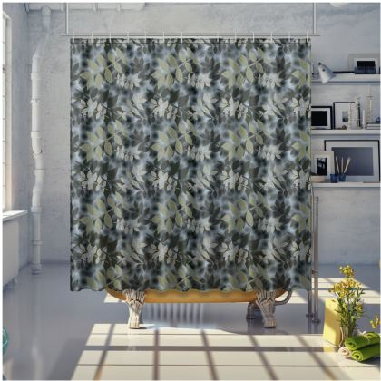Black, Grey Shower Curtain [large shown]  Etched Leaves  Volcanic
