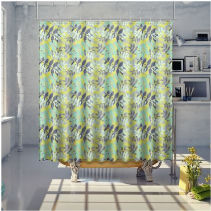 Yellow, green Shower Curtain  Etched Leaves  Sunlight