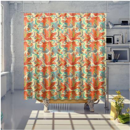 Orange, grey Shower Curtain [large shown]  Lily Garden  Orangery