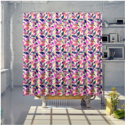Pink, Mauve Shower Curtain [large shown]  Diamond Leaves  Sunset