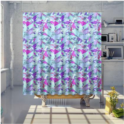 Blue, Mauve Shower Curtain [large shown]  Diamond Leaves  Blue Mint