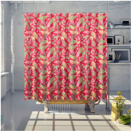 Red Shower Curtain [large shown]  Cathedral Leaves  Muse
