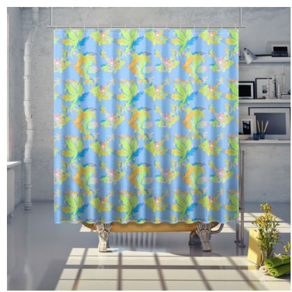 Turquoise Shower Curtain  Regal Leaves  Playtime