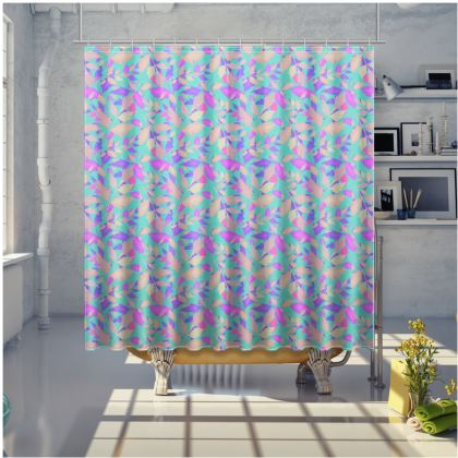 Turquoise, Mauve Shower Curtain  Cathedral Leaves  Turquoise Sea
