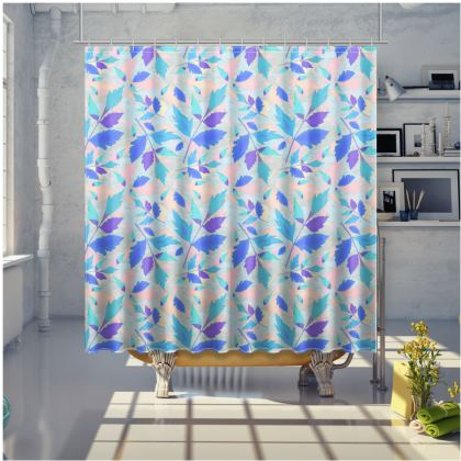 Blue, Pink Shower Curtain [large shown] Cathedral Leaves   Cool Spring                                        dral Leaves