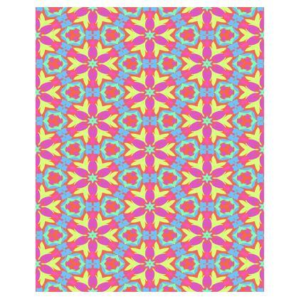 Mauve, Blue Towels  [large double shown]  Geometric Florals   Starflower