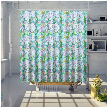 Pink, Green Shower curtain [large shown]  Oaks   Marble