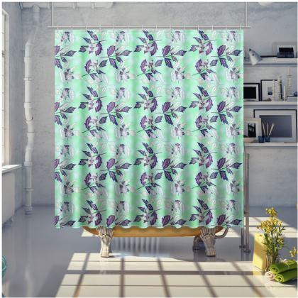 Green Shower Curtain  Slipstream  Swallow