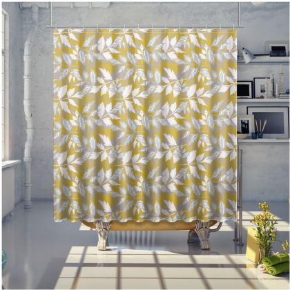 Gold, white Shower Curtain  Slipstream  Treasure