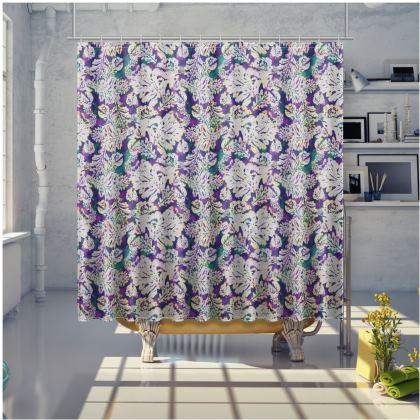 Mauve, blue Shower Curtain  Oak  Theatrical