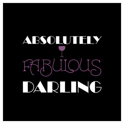 Curtains (229x229cm) - Absolutely Fabulous Darling - ABFAB (White text) 2