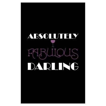 Voile Curtains (116x182cm) - Absolutely Fabulous Darling - ABFAB (White text) 2