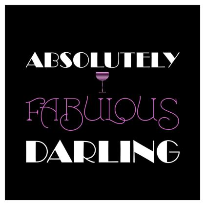 Voile Curtains (229x229cm) - Absolutely Fabulous Darling - ABFAB (White text) 2