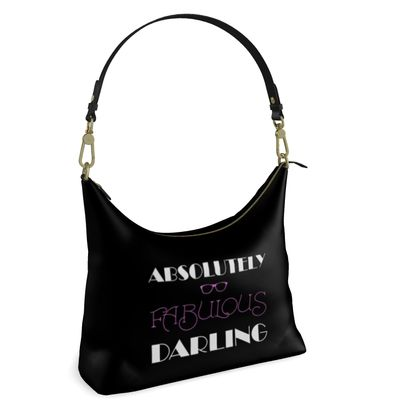 Square Hobo Bag - Absolutely Fabulous Darling - ABFAB (White text)