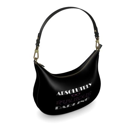 Curve Hobo Bag - Absolutely Fabulous Darling - ABFAB (White text)