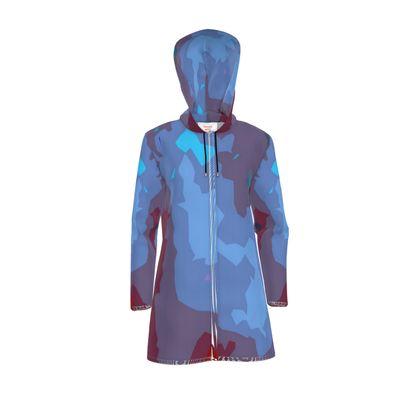 Womens Hooded Rain Mac - Abstract Colours