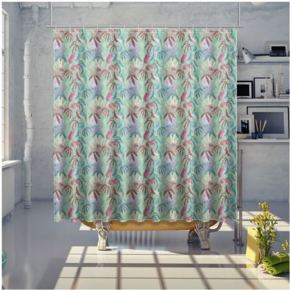 Teal Shower Curtain [large shown]  Passionflower  Teal Passion