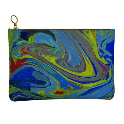 Leather Clutch Bag - Abstract Diesel Rainbow 3