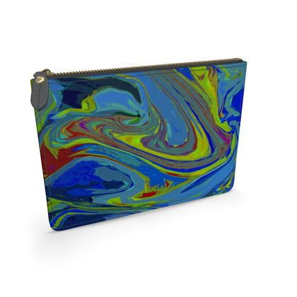 Leather Pouch - Abstract Diesel Rainbow 3