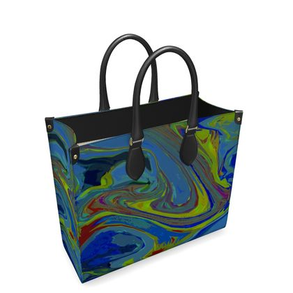Leather Shopper Bag - Abstract Diesel Rainbow 3