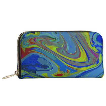 Leather Zip Purse - Abstract Diesel Rainbow 3