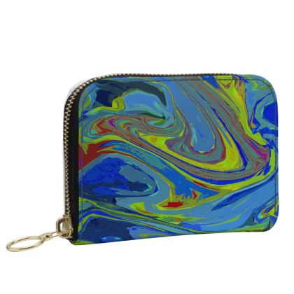 Small Leather Zip Purse - Abstract Diesel Rainbow 3