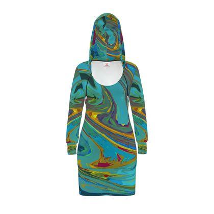 Hoody Dress - Abstract Diesel Rainbow 1