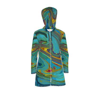 Womens Hooded Rain Mac - Abstract Diesel Rainbow 1