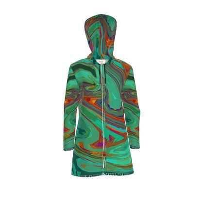 Womens Hooded Rain Mac - Abstract Diesel Rainbow 2