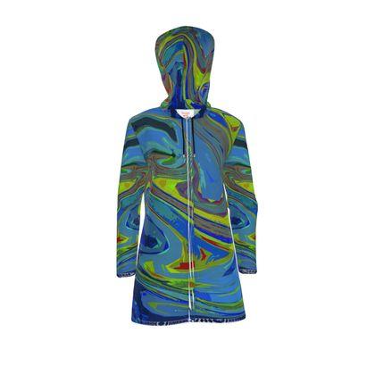 Womens Hooded Rain Mac - Abstract Diesel Rainbow 3
