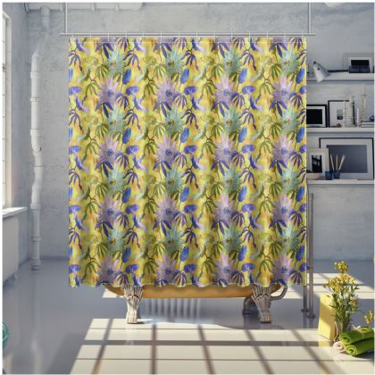 Shower Curtain, yellow, floral  Passionflower  Radiance