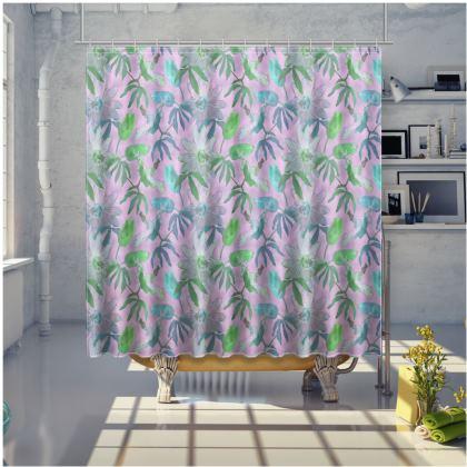 Shower Curtain, Mauve, Floral  Passionflower  Purple Passion