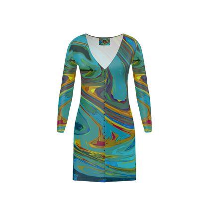 Short Ladies Cardigan - Abstract Diesel Rainbow 1