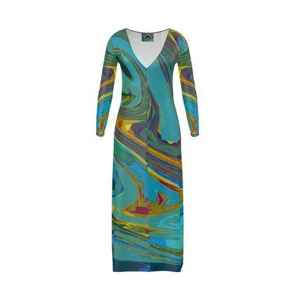Long Ladies Cardigan - Abstract Diesel Rainbow 1