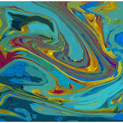 Knee-Length Flared Skirt - Abstract Diesel Rainbow 1