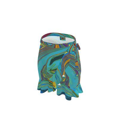 Short Flounce Skirt - Abstract Diesel Rainbow 1