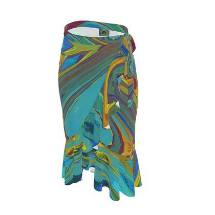 Long Flounce Skirt - Abstract Diesel Rainbow 1