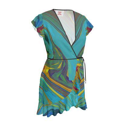 Tea Dress - Abstract Diesel Rainbow 1